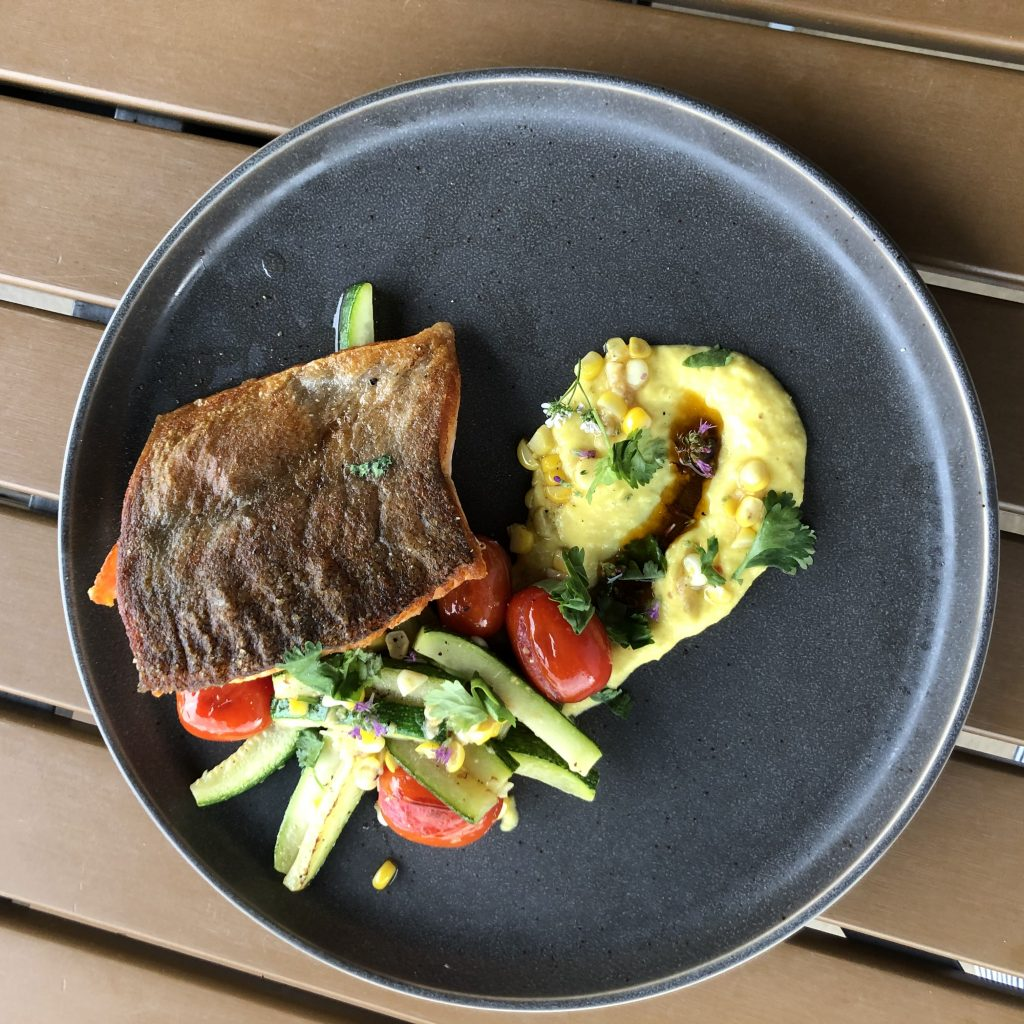 LocalCoho with Corn Custard and Summer Vegetables